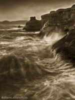 oregon, coast, tide, wave, action, sandstone