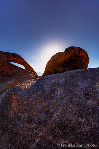 The sun rises behind granite boulders of the Alabama Hills. This view gives an idea of the colossal scale of these rocks. Hollywood...