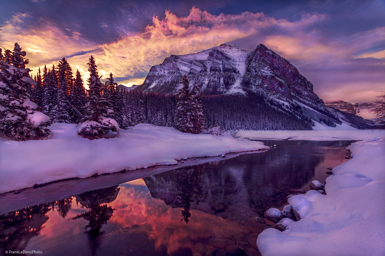 sunrise, mountain, lake, Louise, Alberta, Canada, winter, snow, nature, beauty, clouds, photo