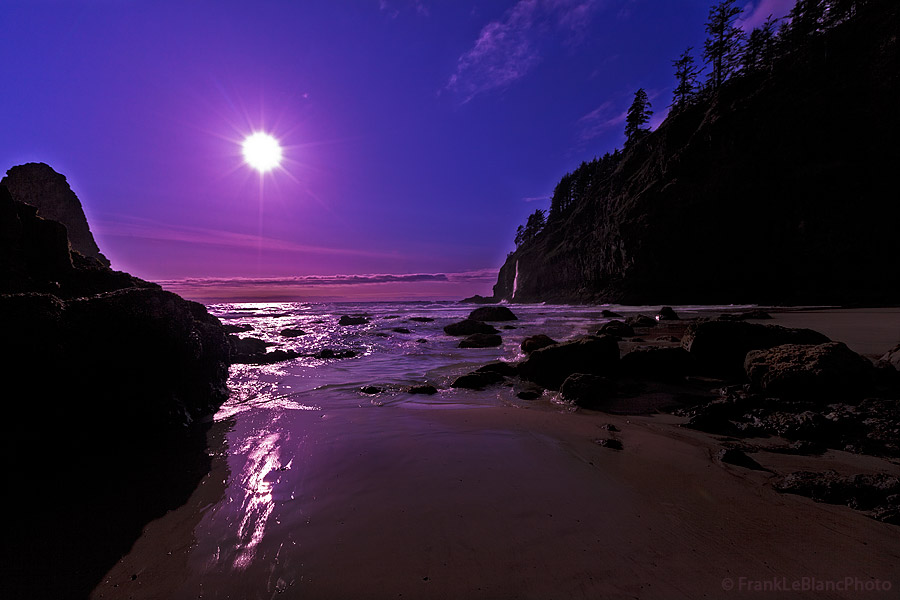 sunset, oregon coast, moonrise, photo