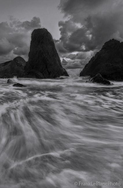 oregon, coast, tide, wave, action, sandstone, photo