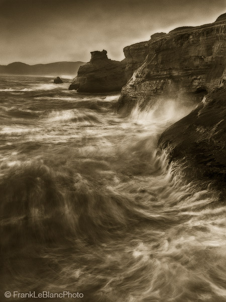oregon, coast, tide, wave, action, sandstone, photo